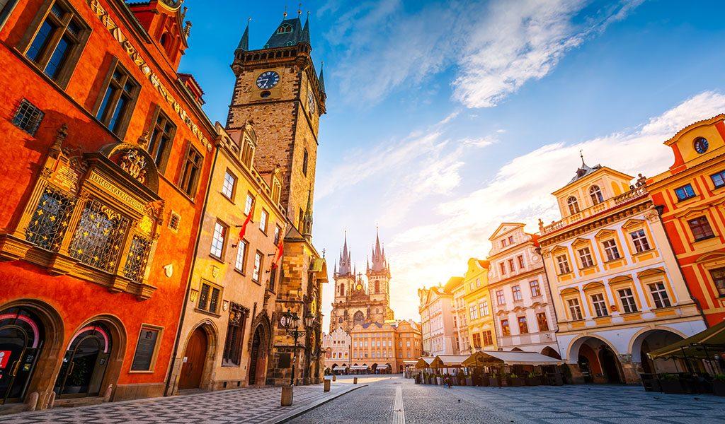 Czech Republic, Prague, Town Square, Historic Buildings, Colorful, Architecture 1024x600